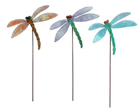 Sunset Vista Designs Enchanted Garden Collection Dragonfly Plant Picks, Set of 3