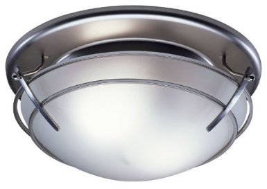 Broan 757SN Bathroom Ceiling Fan Light with Frosted-Glass Shade, Satin Nickel Finish