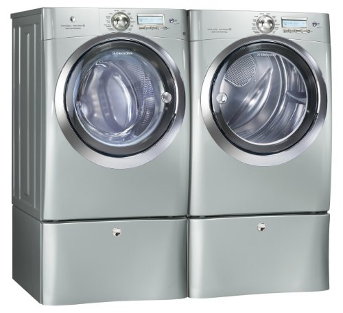 Electrolux Silver IQ Touch Front Load Washer and Steam ELECTRIC Dryer Laundry Set W Pedestals