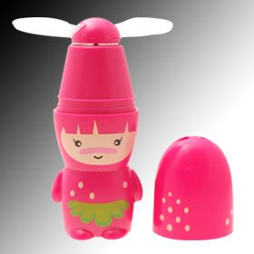 Cute Pink Purple Doll Battery Powered Summer Pocket Personal Mini Fan