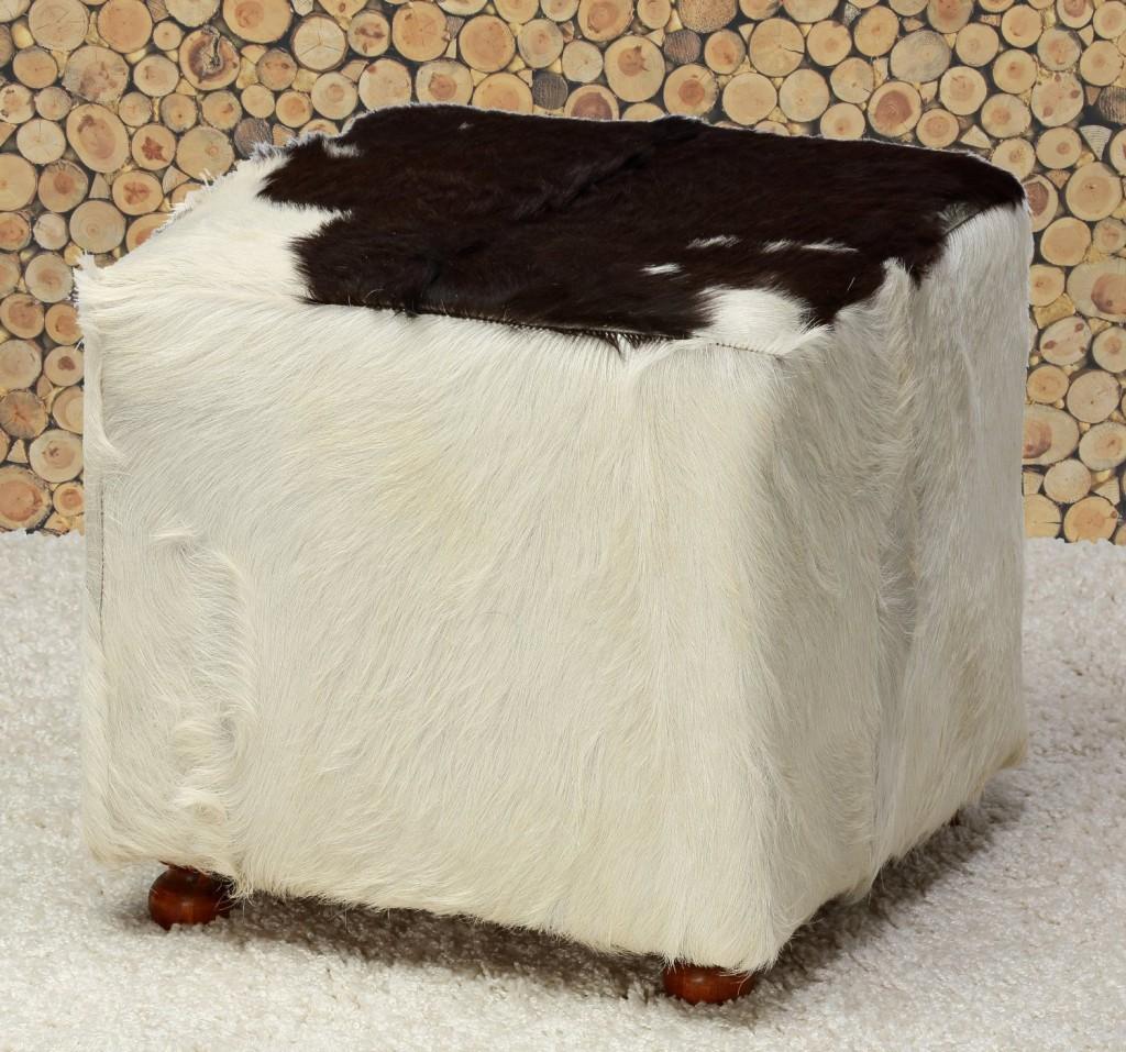 Bare Decor Brazil Cowhide Cube Ottoman