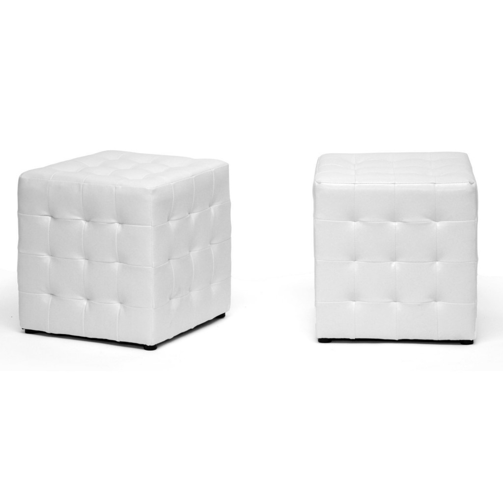 Baxton Studio Siskal Modern Cube Ottoman, Set of 2