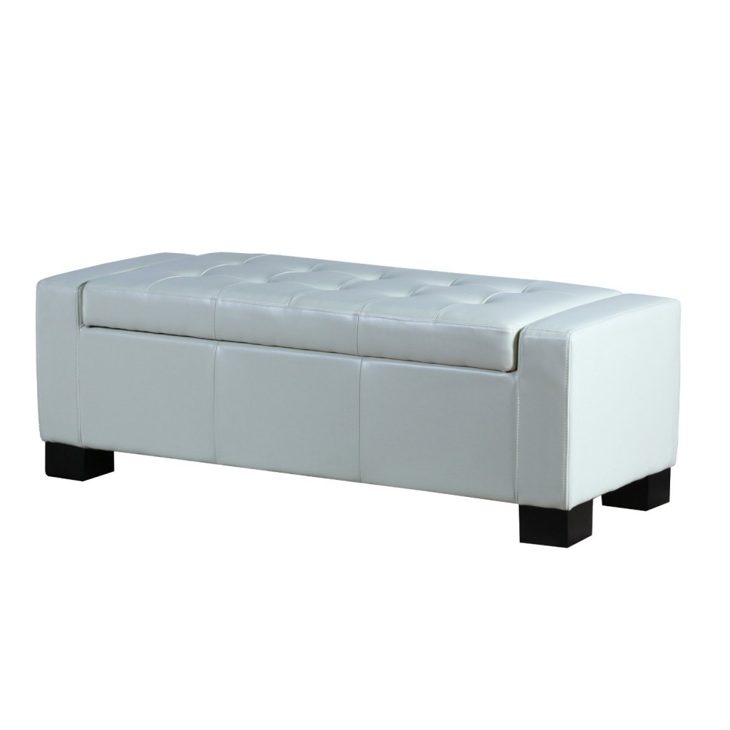 Best Selling Guernsey Leather Storage Ottoman White  sc 1 st  Tool Box : storage ottoman white  - Aquiesqueretaro.Com