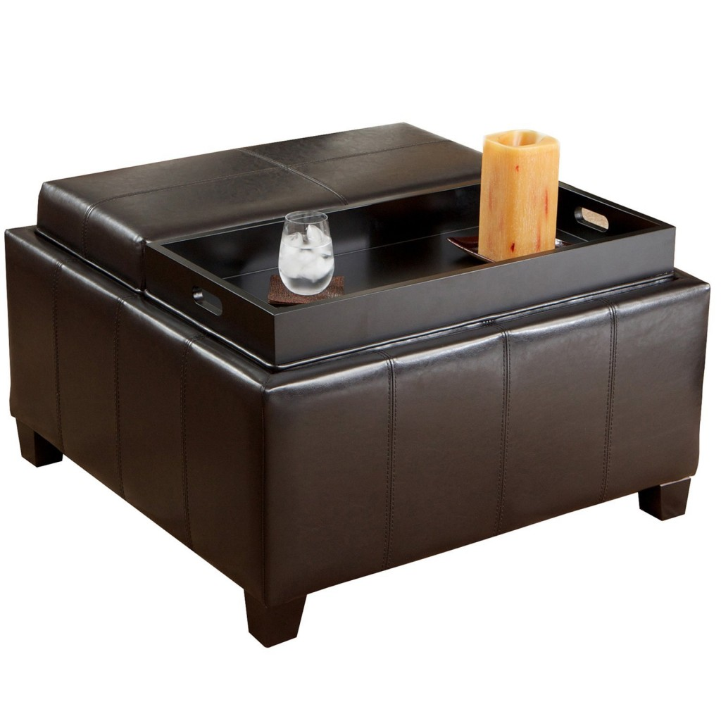 Best Selling Mansfield Leather Espresso Tray Top Storage Ottoman