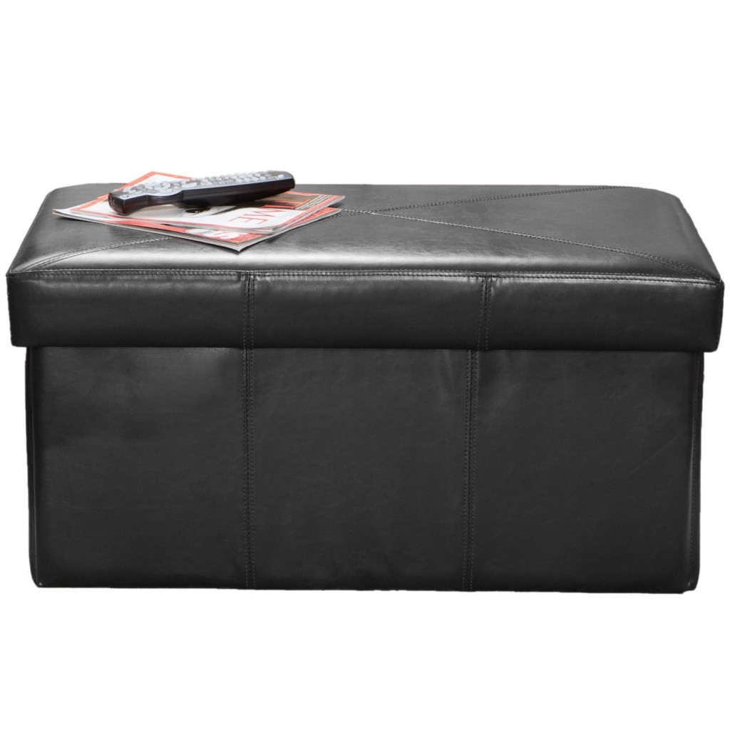 Best Selling Nottingham Leather Storage Ottoman, Black