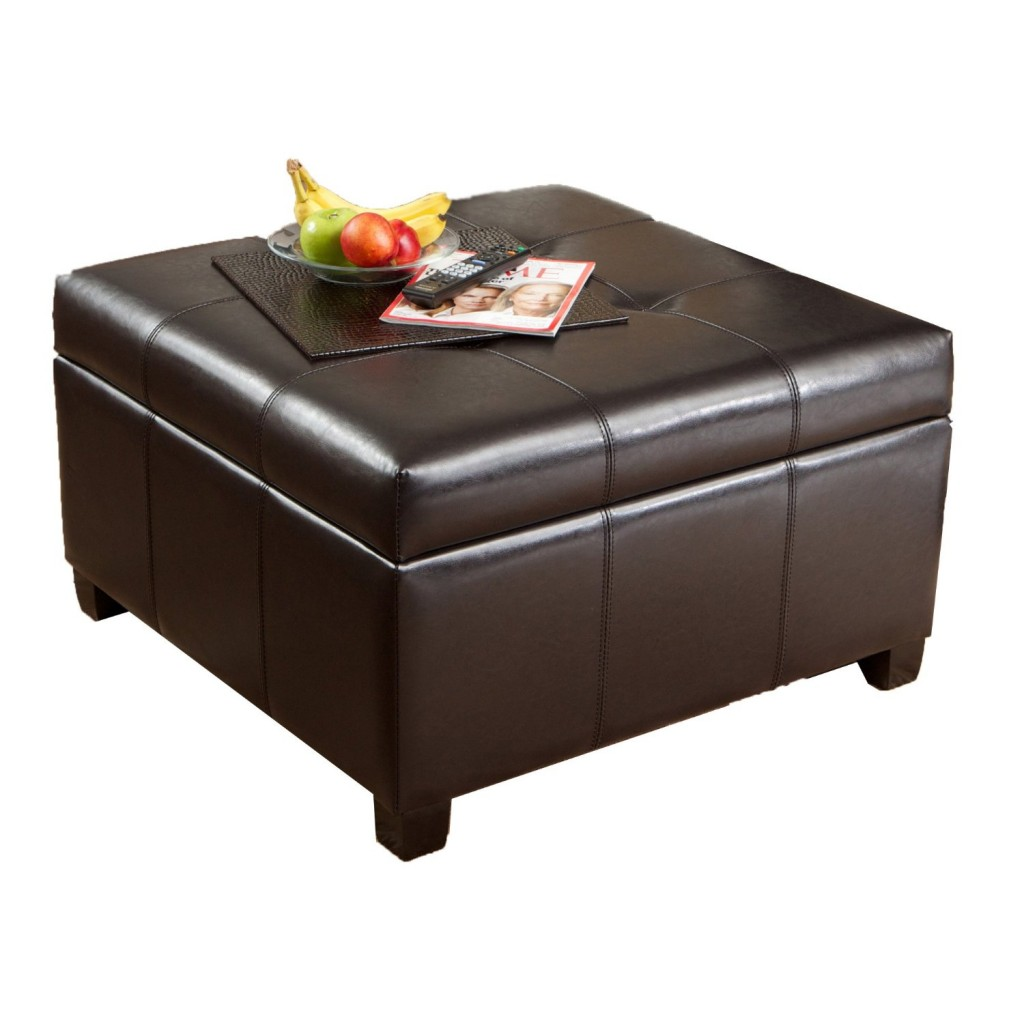 Best Selling Richmond Espresso Leather Storage Ottoman