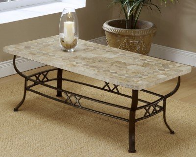 Brookside Wrought Iron Coffee Table w Fossil Stone Top