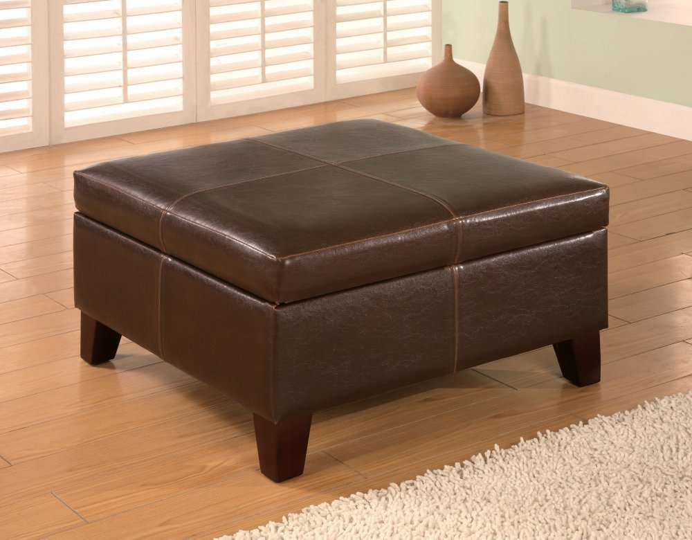 COASTER 501042 Dark Brown Leather Vinyl Storage Ottoman