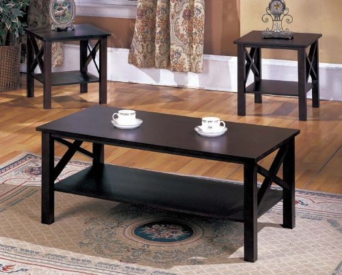 Casual 3-Piece Occasional Table Set with Simple Wood Design