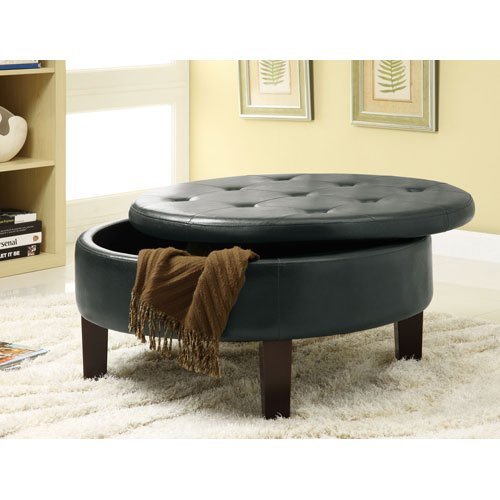 Coaster Round Upholstered Storage Ottoman With Tufted Top In Black