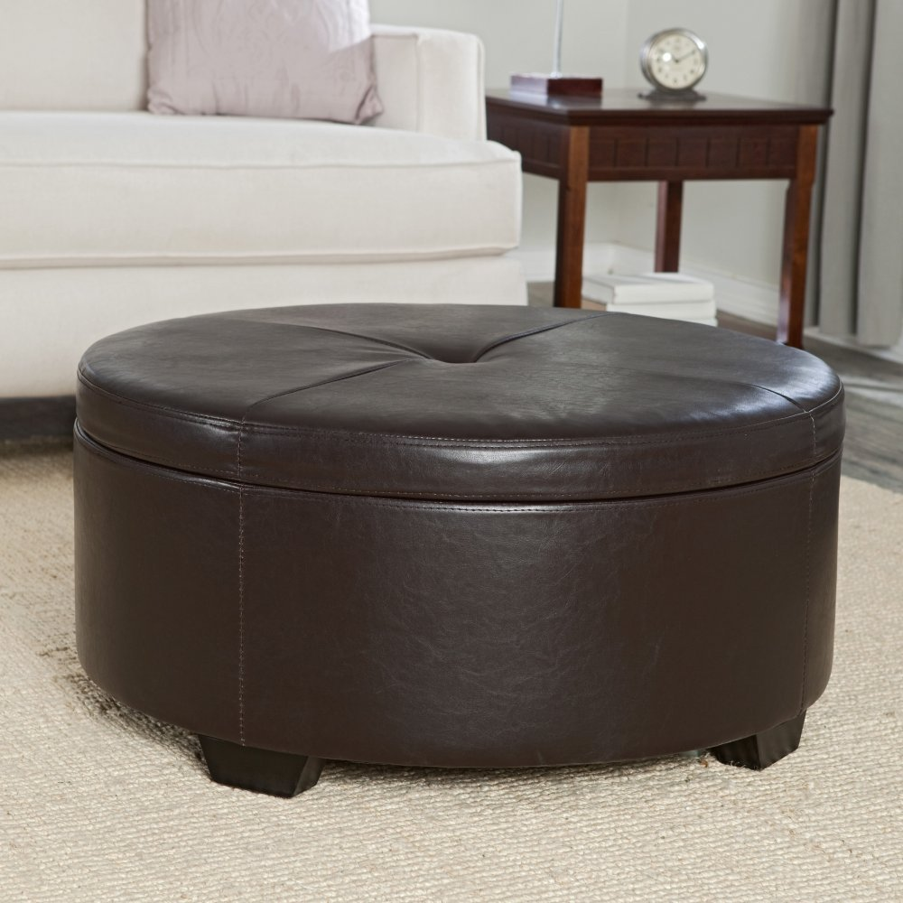 the latest 0e6a5 3c023 5 Best Round Leather Ottoman – Easy to clean | Tool Box 2018 ...
