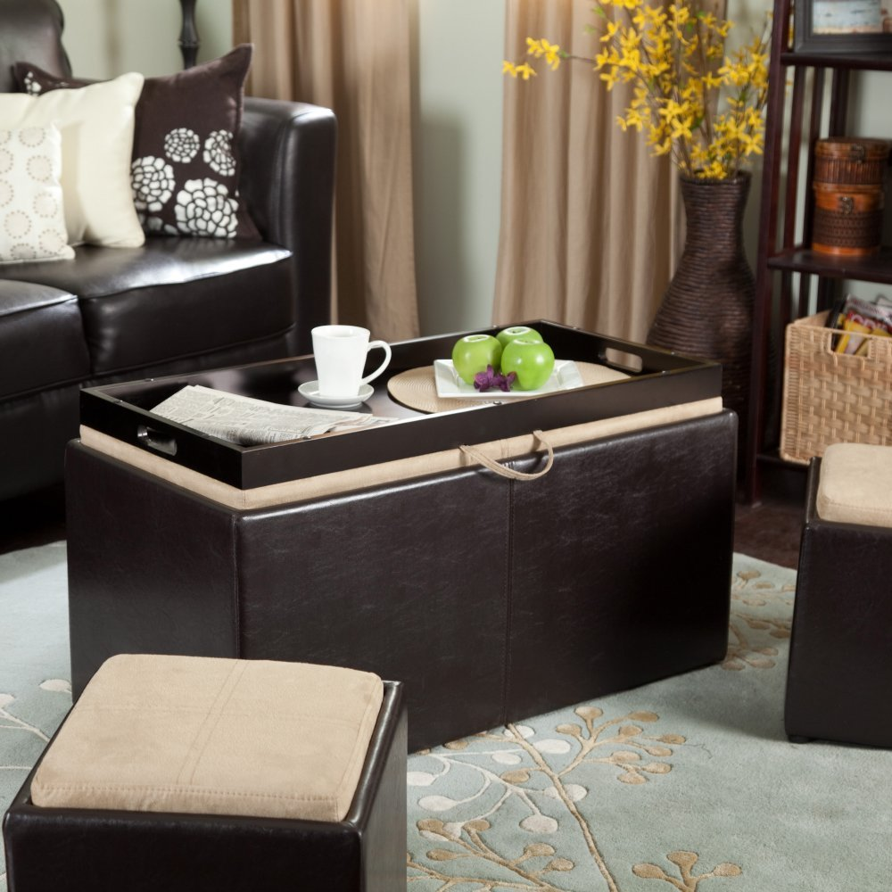 Garrett Coffee Table Storage Ottoman Leather Coffee Table With Storage And Trays