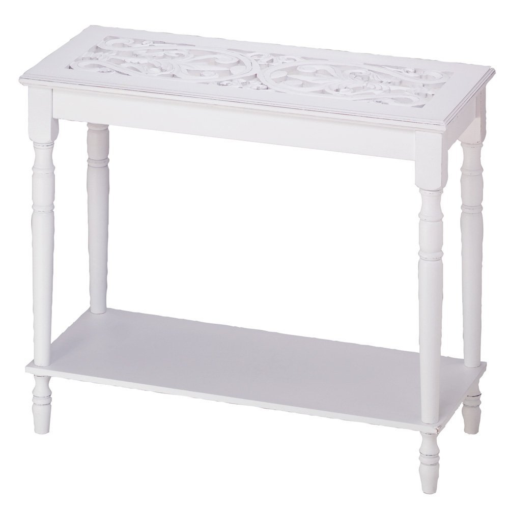 Home Accent White Wood Carved Top Sofa Console Table