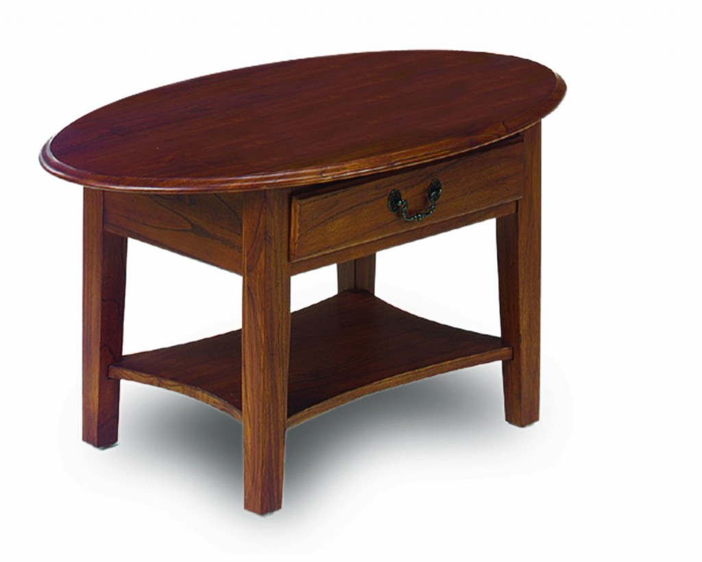 Leick Oval Coffee Table, Medium Oak