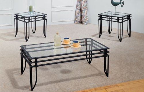 Matrix Coffee Table Set Wrought Iron with 8mm Beveled Glass