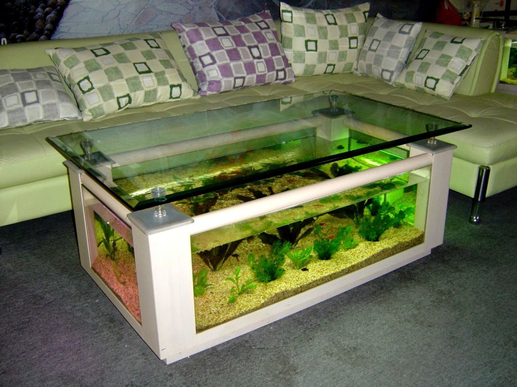 Rectangle coffee table aquarium, completely fish ready with hidden filter and LED lights