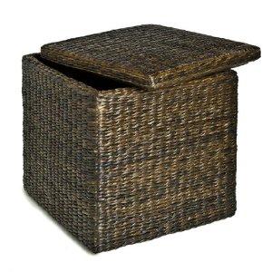 Seville Classics PAT70160 Rush Cube Storage Ottoman