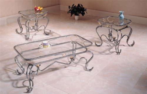 XO Design Wrought Iron Occasional Coffee & 2 End Table Set
