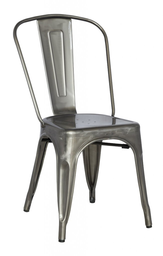 Chintaly Imports Galvanized Steel Side Chair, Set Of 4