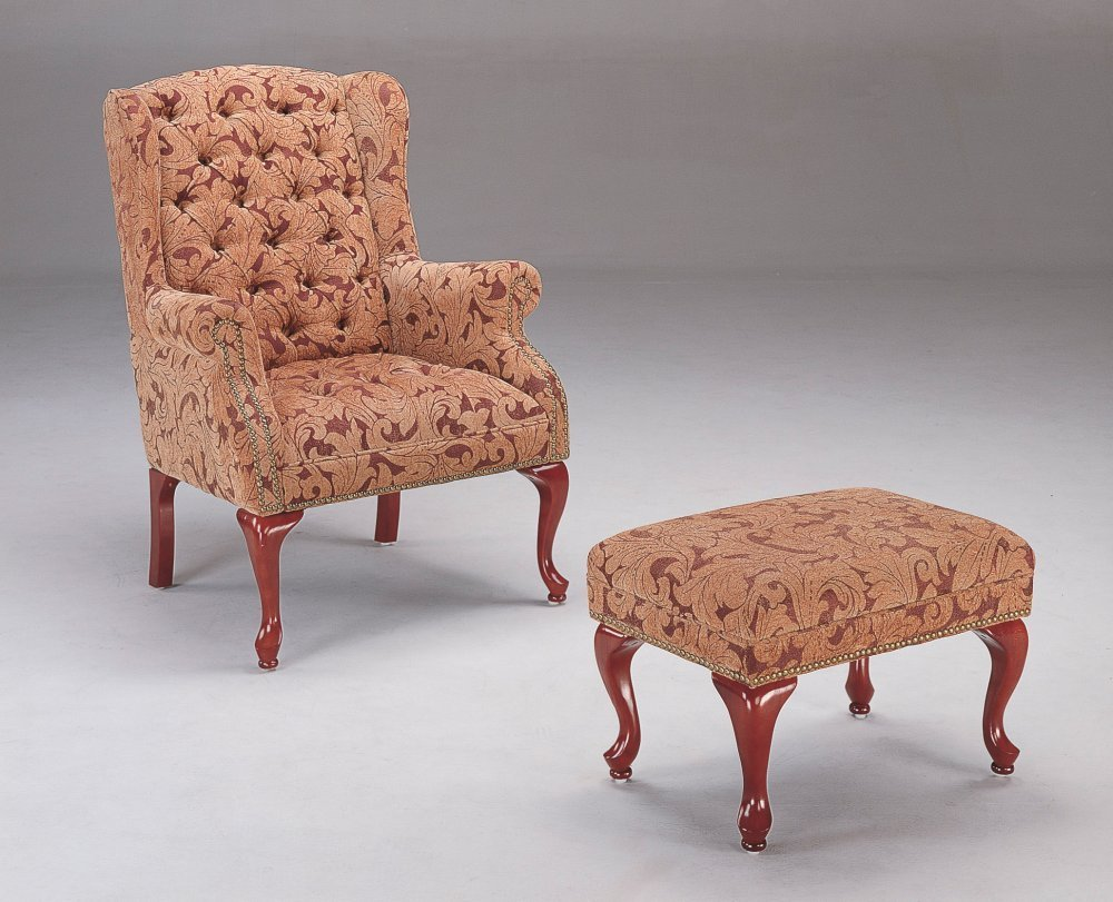 Coaster Queen Anne Style Button Tufted Wing Accent Chair with Ottoman