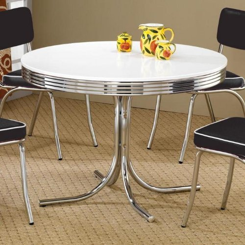 ... kitchen with this coaster retro round dining kitchen table featuring a