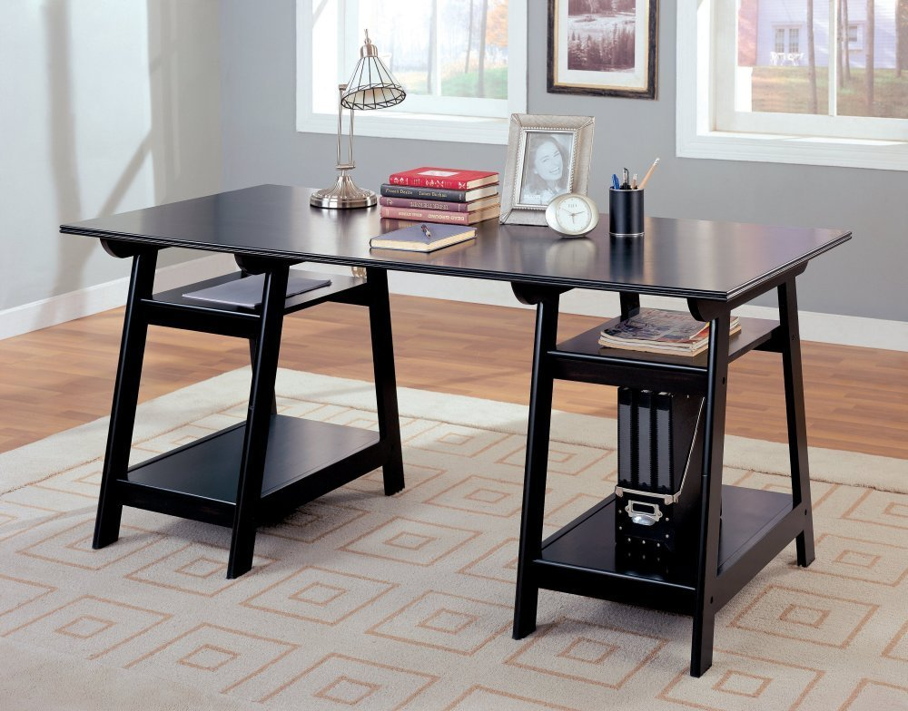this trestle style black finish wood office desk table is designed to