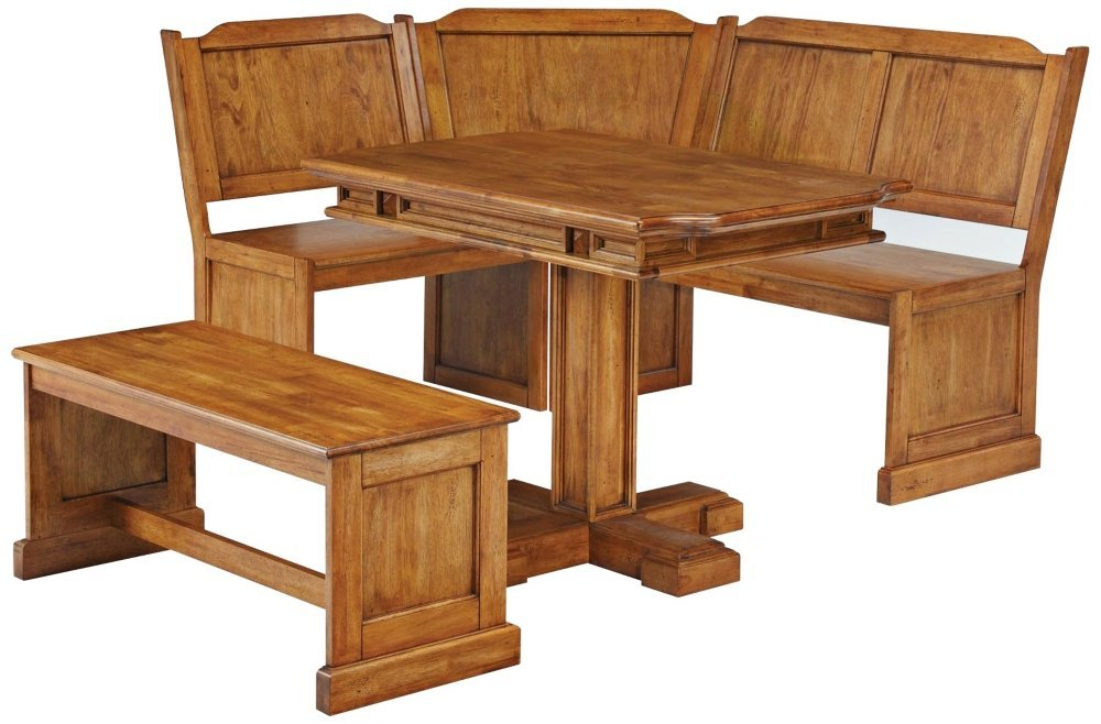 Bench And Rectangular Nook Dining Table Set Distressed Oak Finish