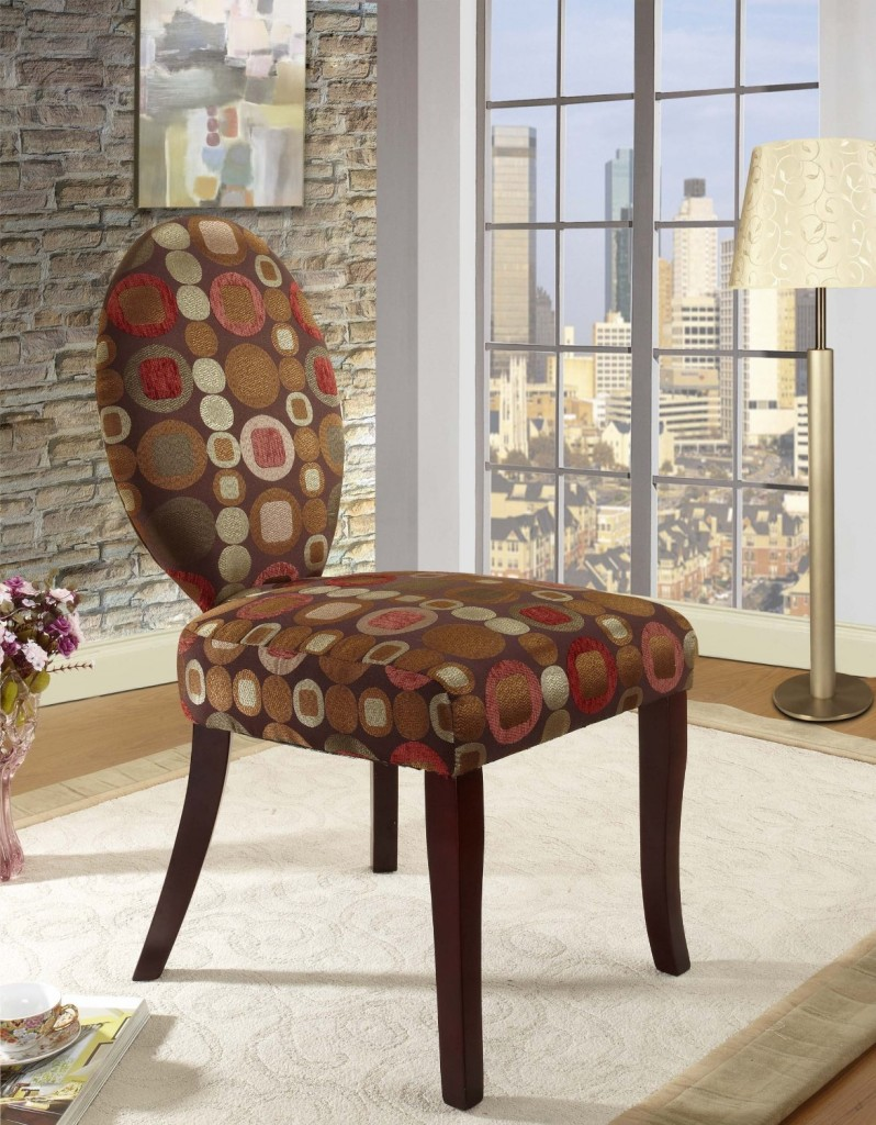 King's Brand AC7207 Circle Fabric and Bent Wood Design Legs Accent Chair