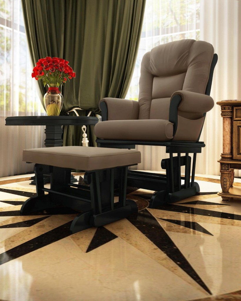Naomi Home Deluxe Sleigh Glider and Ottoman Set