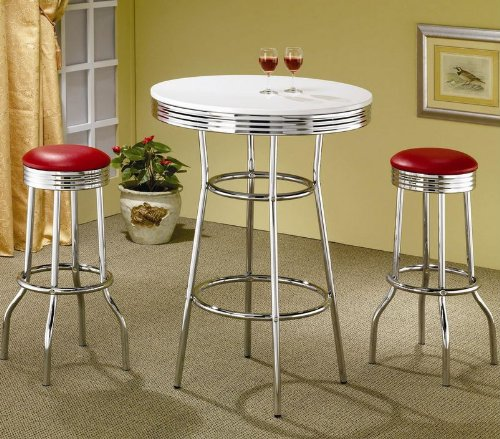 Red Cliff Retro Bar Table in Chrome