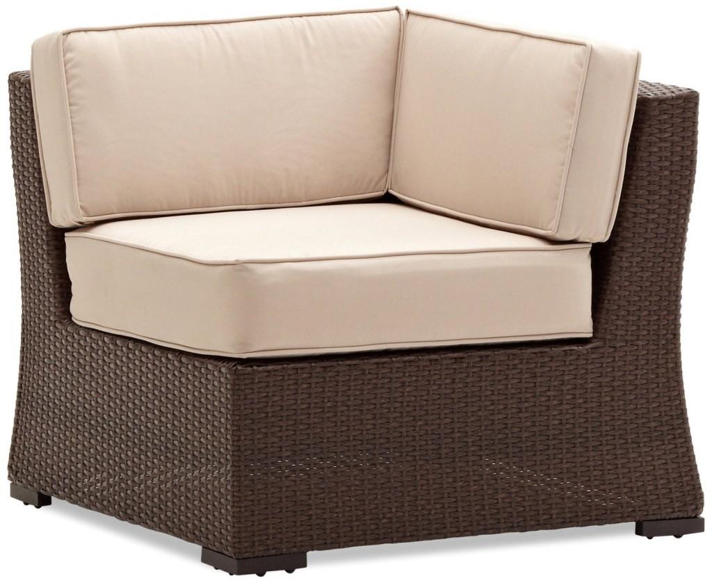 Strathwood Griffen All-Weather Wicker Sectional Corner Chair, Dark Brown