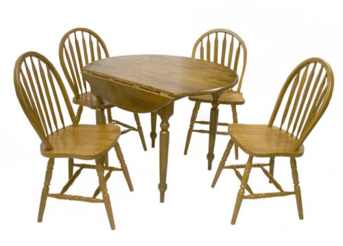 TMS 5 Piece Drop Leaf Dining Set, Oak