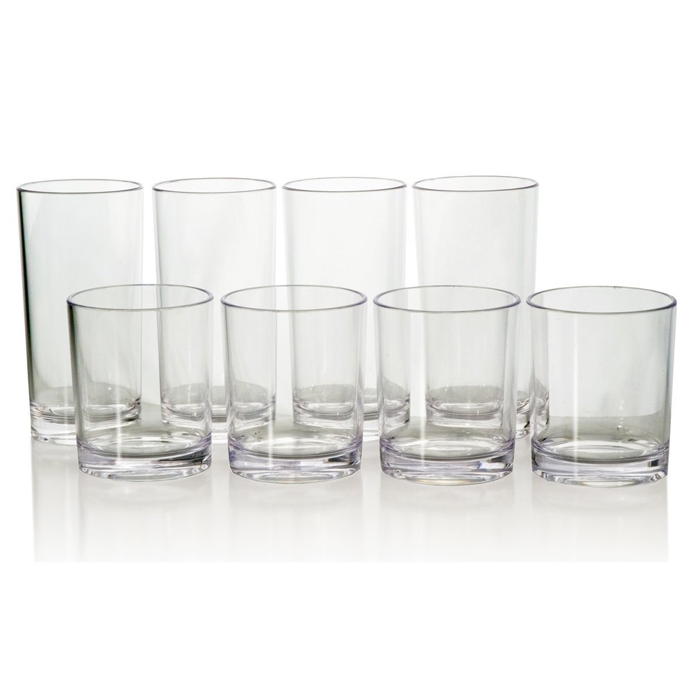 8pc Unbreakable Clear Tritan Plastic Cup Tumblers