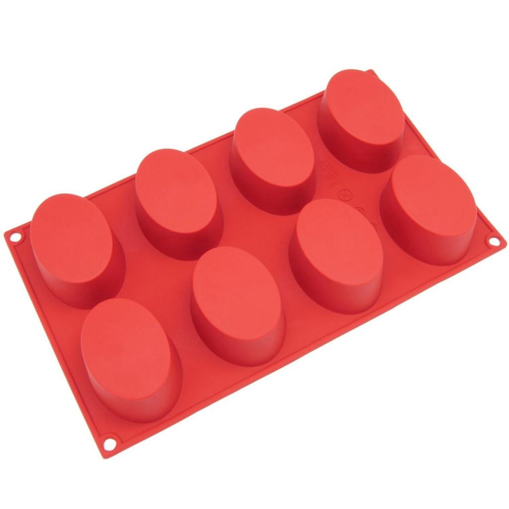 Freshware 8-Cavity Oval Cake Silicone Mold