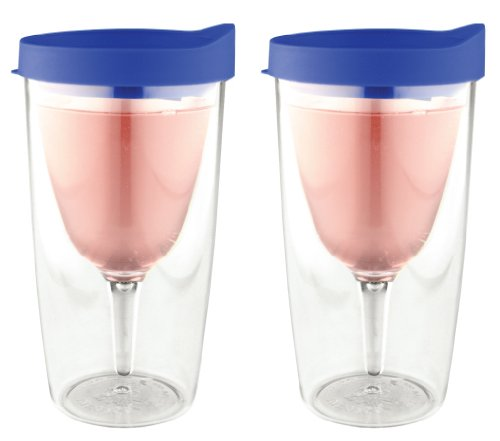 Vino2Go 2 Pack Clear Double Wall Acrylic Tumblers with Blue Lids