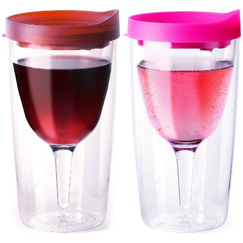 Vino2Go Merlot and Pink 10 Ounce Insulated Wine Tumbler Set