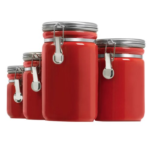 Red Black And White Canister Set For My Kitchen