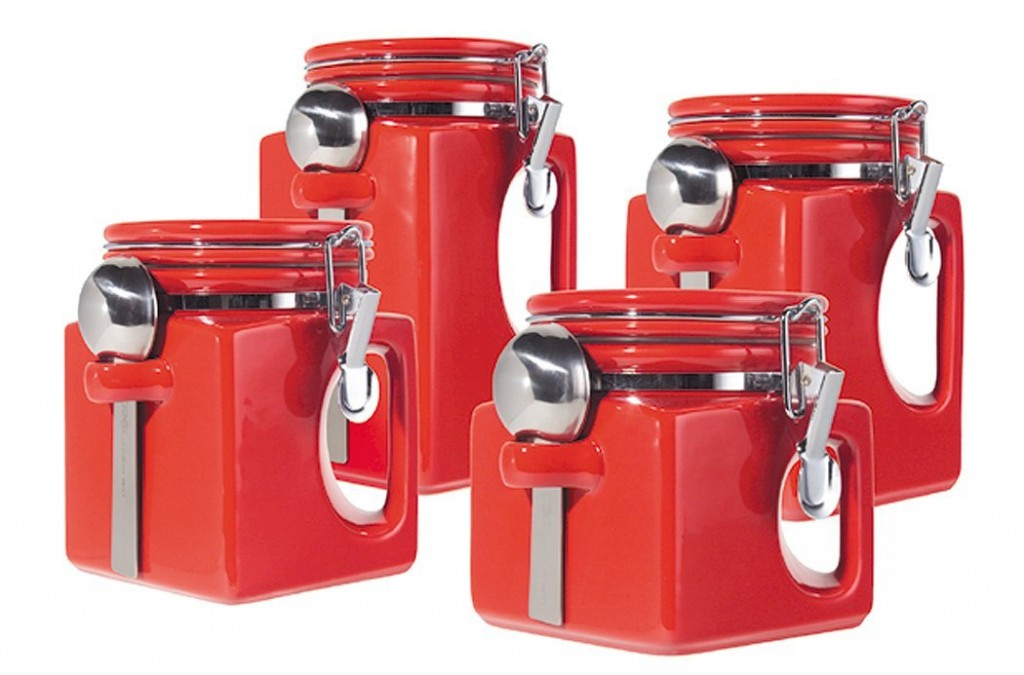 5 best red canister set convenient and attractive for Handle kitchen set