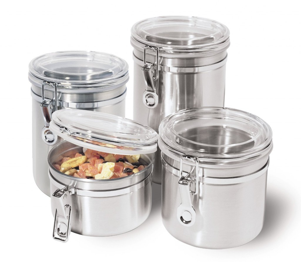 5 best stainless steel kitchen canister set convenient for Kitchen counter set