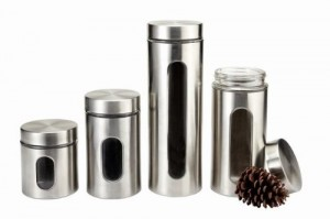 Stainless Steel Kitchen Canister Set - Convenient and handy unit for any kitchen