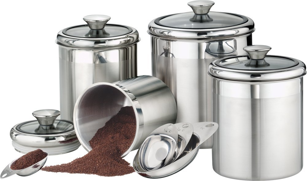 5 best stainless steel kitchen canister set convenient for Signoraware organise your kitchen set 8 pieces