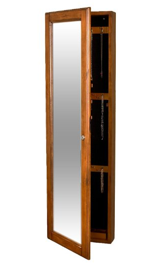 SEI Wall-Mount Jewelry Armoire with Mirror