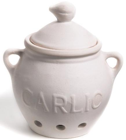 Fox Run Garlic Keeper White Stoneware