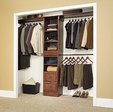 Lancaster Cherry Narrow Closet Organizer Coach Cherry Finish