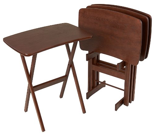 Manchester Wood Contemporary Folding TV Tray Table Set of 4