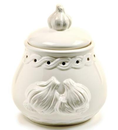 Norpro White Stoneware Garlic Keeper