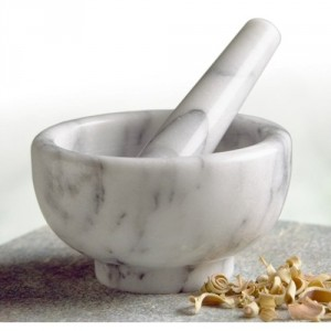 Marble Mortar And Pestle - Release the true aromatic flavors of fresh herbs and spices