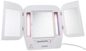Jerdon JGL9W Tri-Fold Lighted Mirror