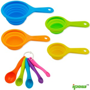 Ipow 9 PCS Collapsible Silicone Measuring Cups