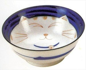 Smiling Blue Cat Porcelain Noodle Bowl